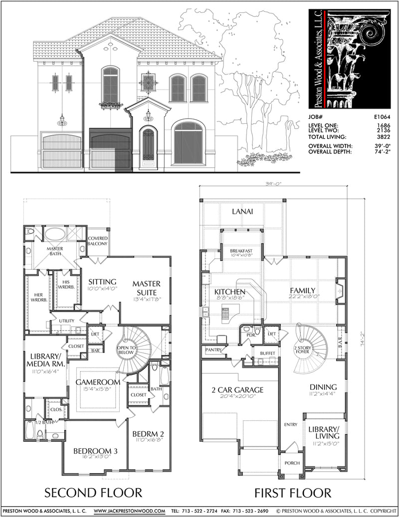 Two Story House Plan E1064
