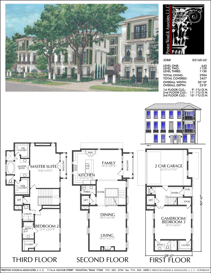 Townhouse Plan D5160 u2