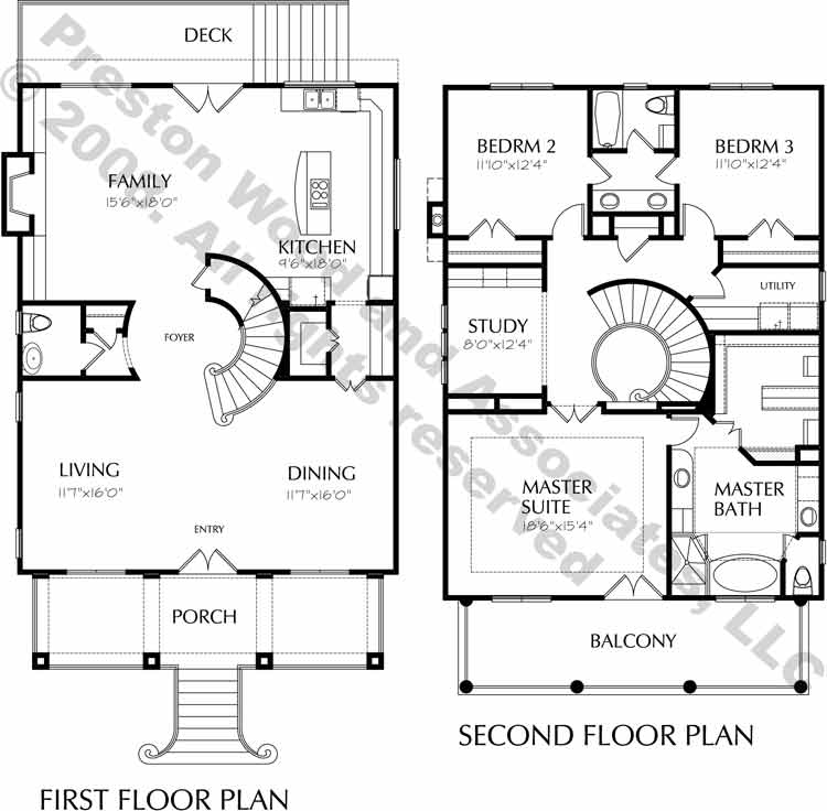 Narrow House Plan C7238