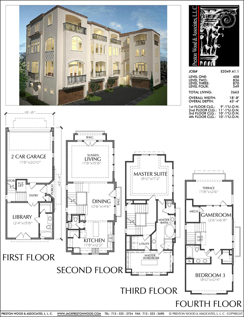 Townhouse Plan E2049 A1.1