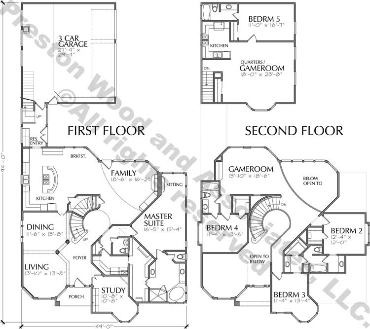 Two Story House Plan C7268