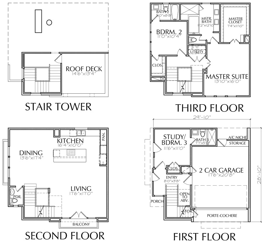 3 story townhome plans, inner city, modern townhouse ...