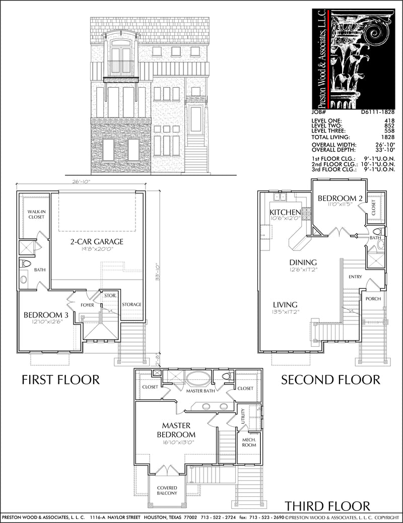 Townhouse Plan D6111-1828