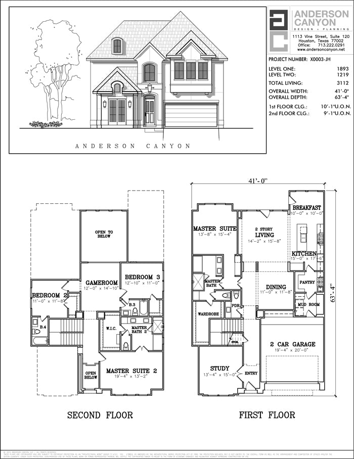 Two Story House Plan X0003