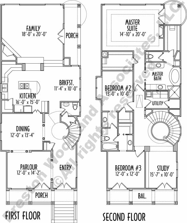 Narrow House Plan C7245