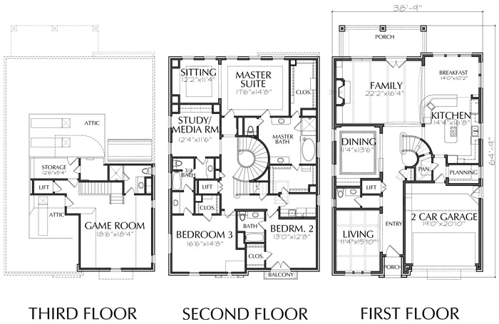 2 1/2 Story Urban House Plan E0213 Narrow House Plans Square Foor on