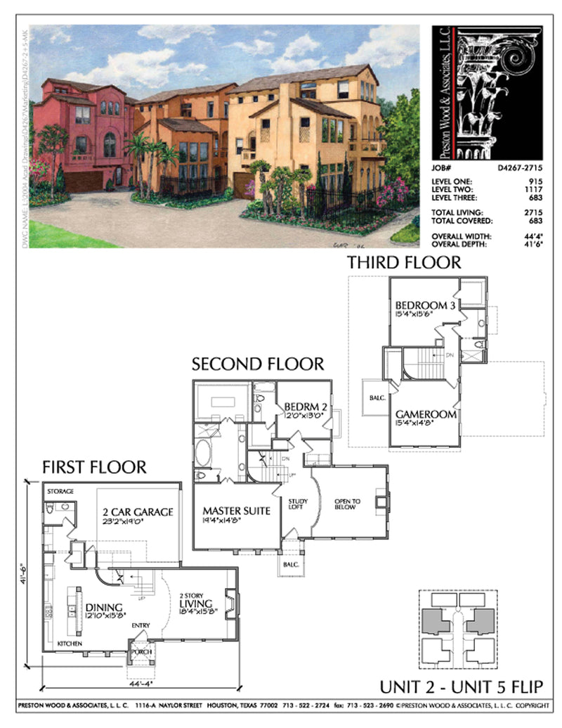Townhouse Plan D4267 u2 & u5