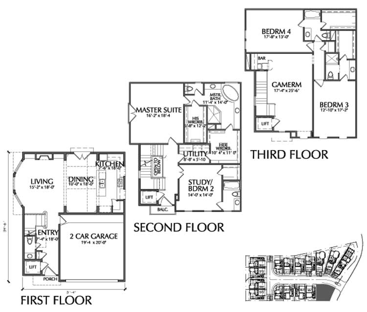 Townhouse Plan D9095 E LOT-1