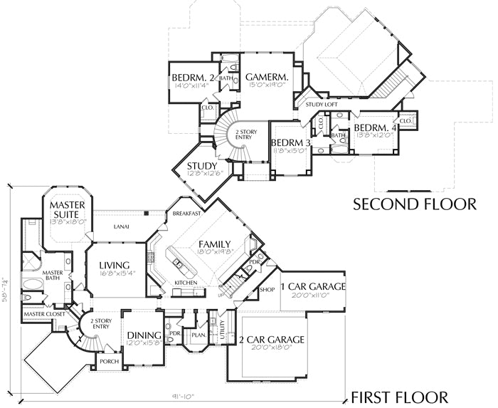 Two Story House Plan D0100