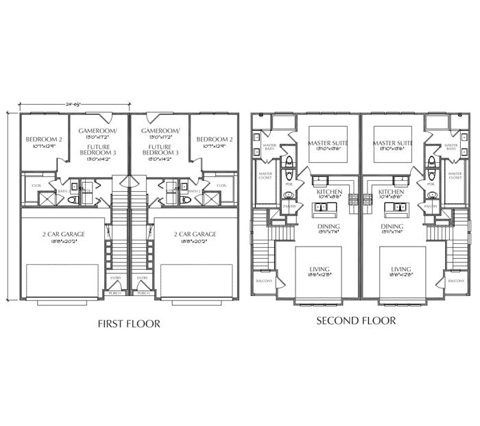 Duplex Townhouse Plan E2136 A1.1