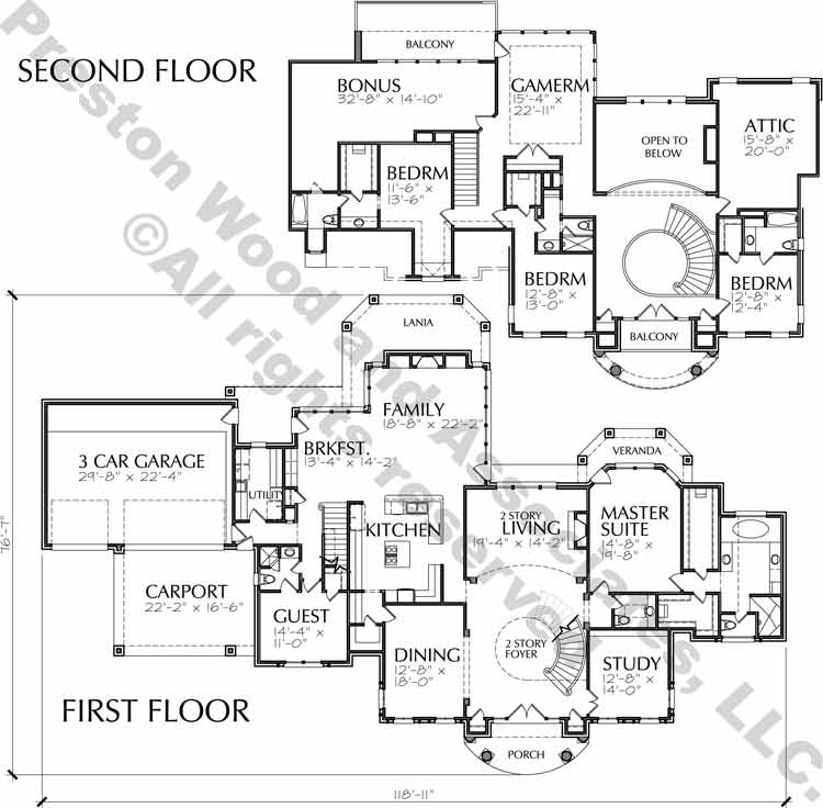 Two Story House Plan C7254