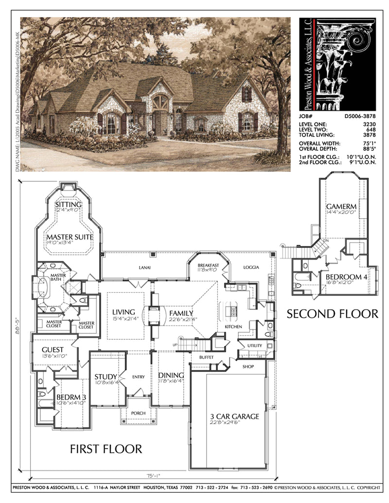 1 1/2 Story Home Plan D5006