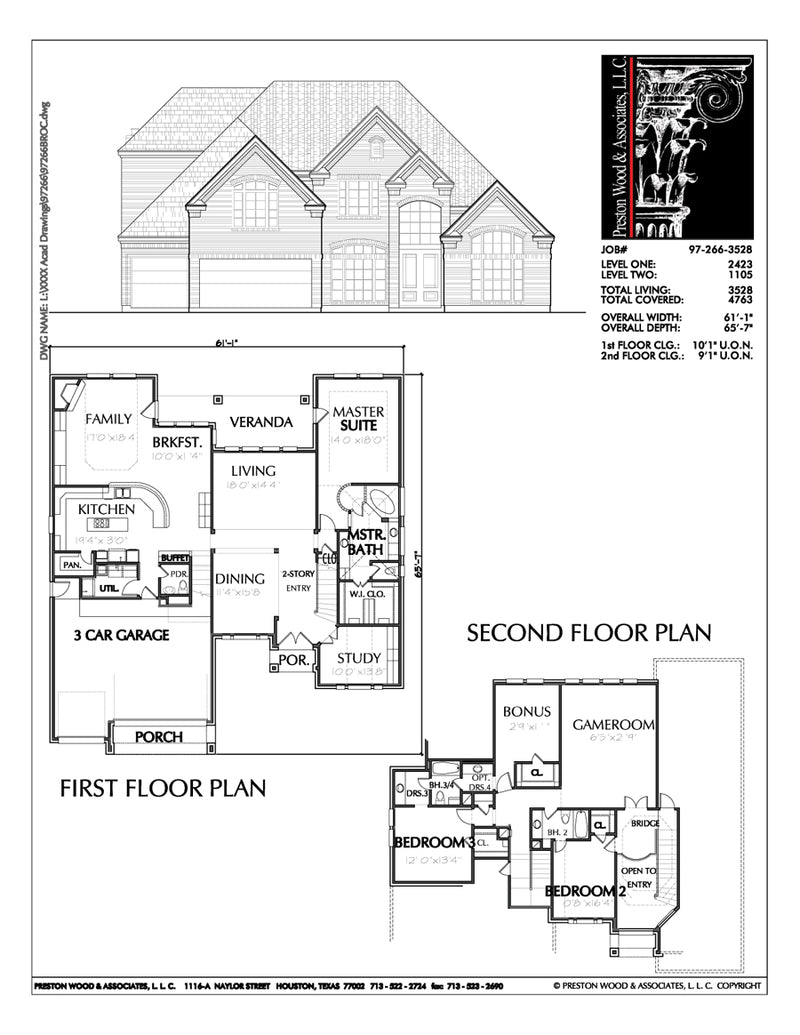 Two Story House Plan C7266