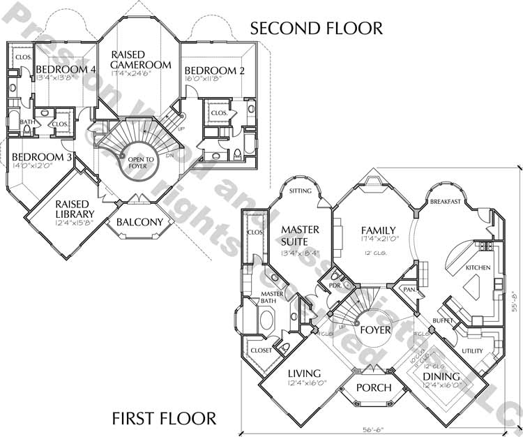 Two Story House Plan C7176