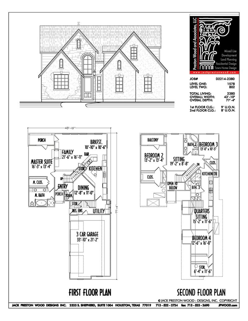 Two Story House Plan D2214
