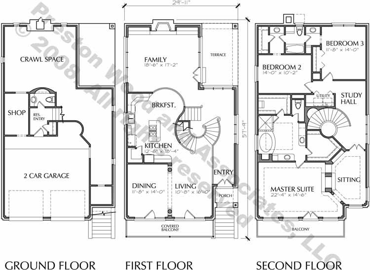 Narrow Home Plan C7208