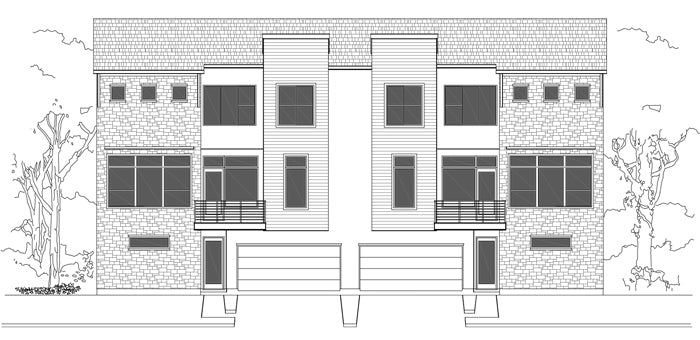 Duplex Townhouse Plan E1102 F1.1
