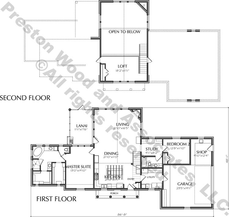 1 1/2 Story Home Plan D8041