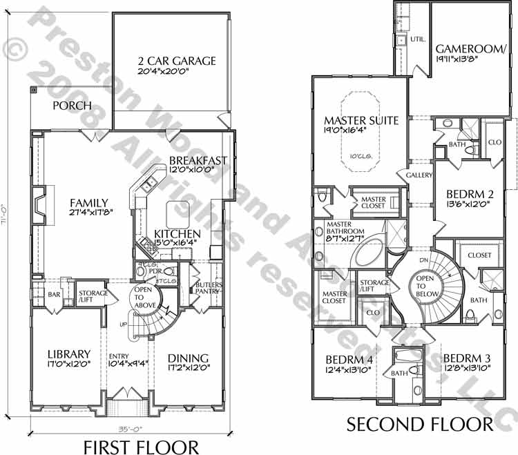 Two Story House Plan D6003