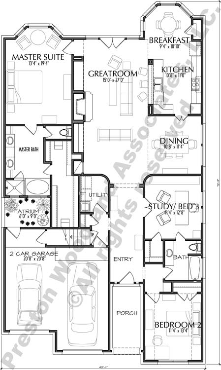 Patio House Plan C6157