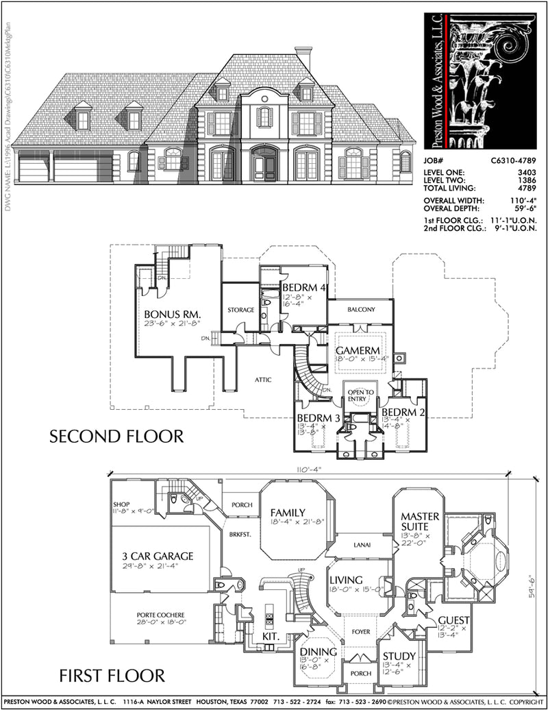 Two Story House Plan C6310