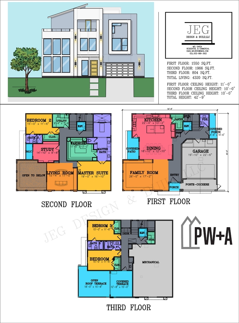 Three Story Urban Home Plan