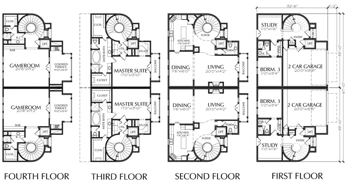 Duplex Townhouse Plan D5160 u5&u6