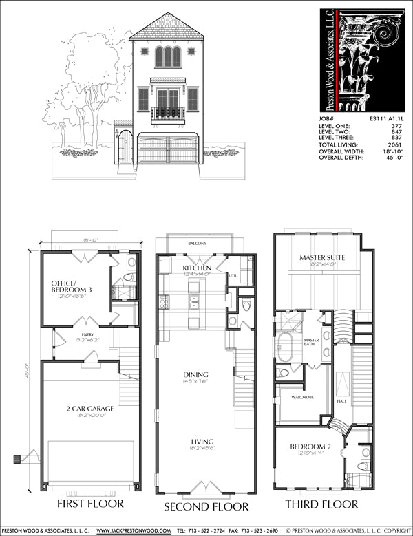 Townhouse Plan E3111 A1.1