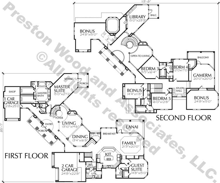 Two Story House Plan C9154
