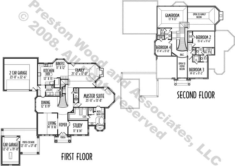 Two Story House Plan D2173
