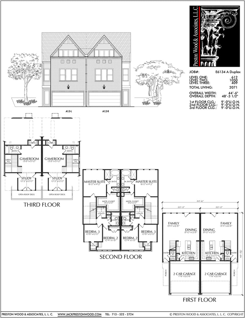 Duplex Townhouse Plan E6134