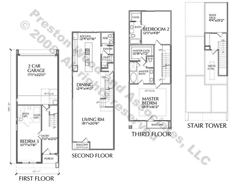 Duplex Townhouse Plan D5153 A2 & A Flipped