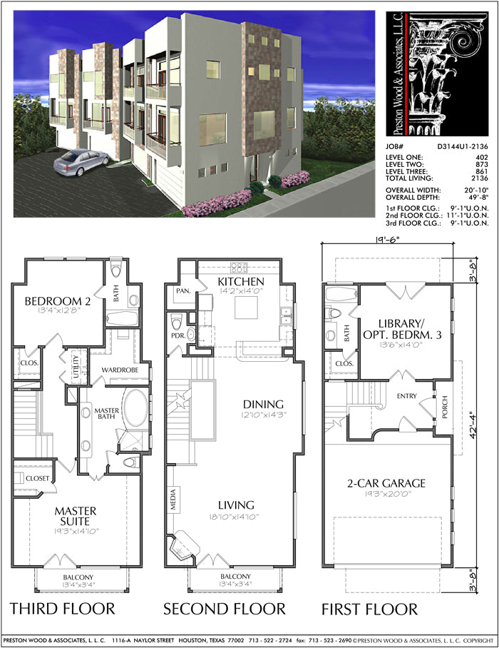 Townhouse Plan D3144-2136