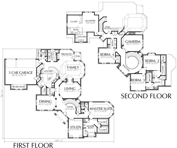 Two Story House Plan C2049