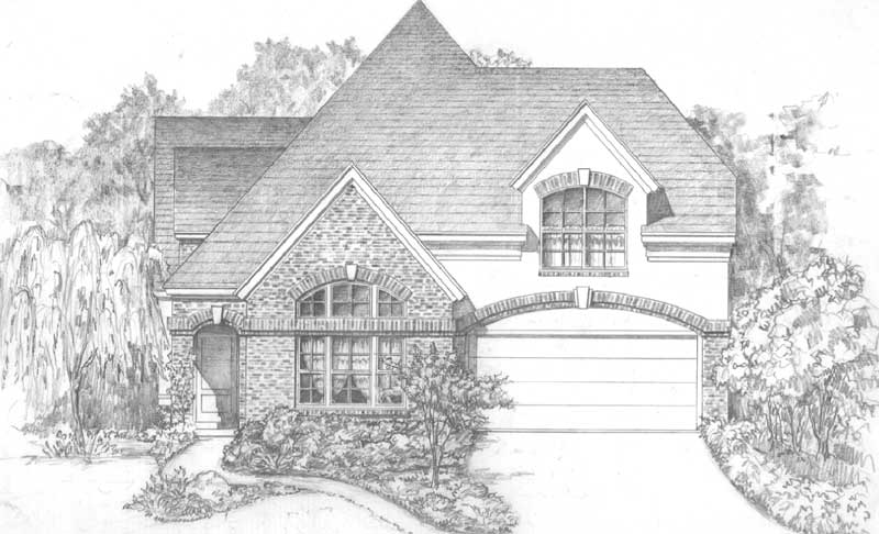 Two Story Patio House Plan C6045 C on