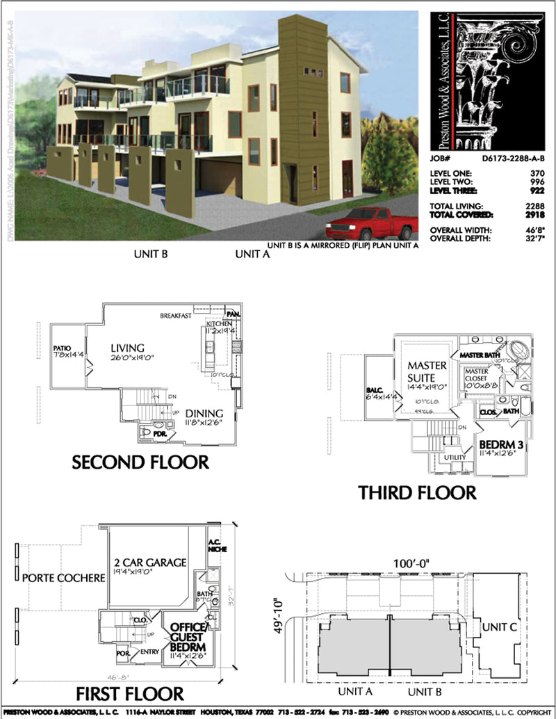 Duplex Townhouse Plan D6173 u1