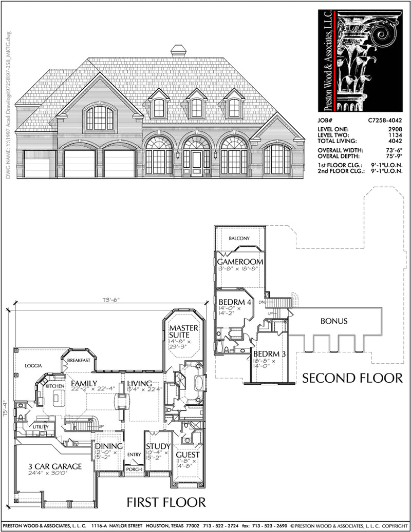 Two Story House Plan C7258