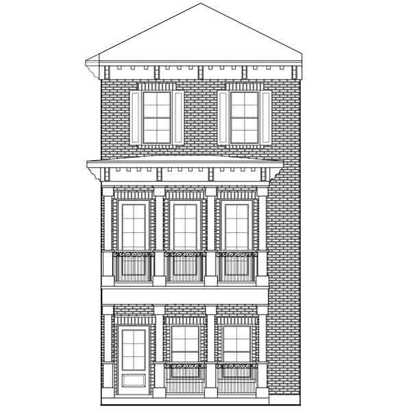 Three Story Townhouse Plan D5214-2383 on