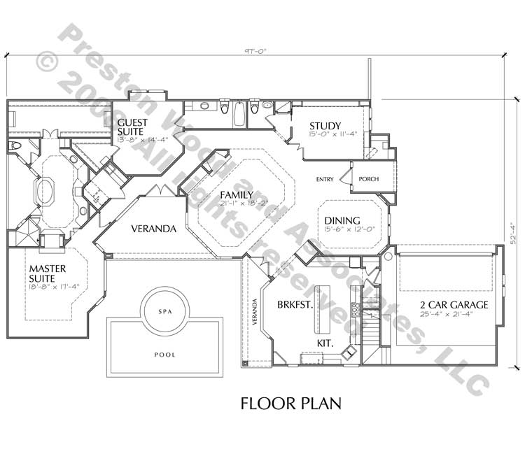 One Story Home Plan C7155
