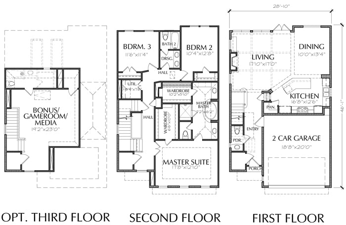 Townhomes, Townhouse Floor Plans, Urban Row House Plan