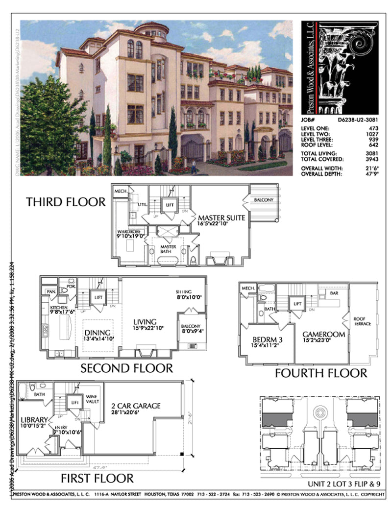 Duplex Townhouse Plan D6238 u1&u2