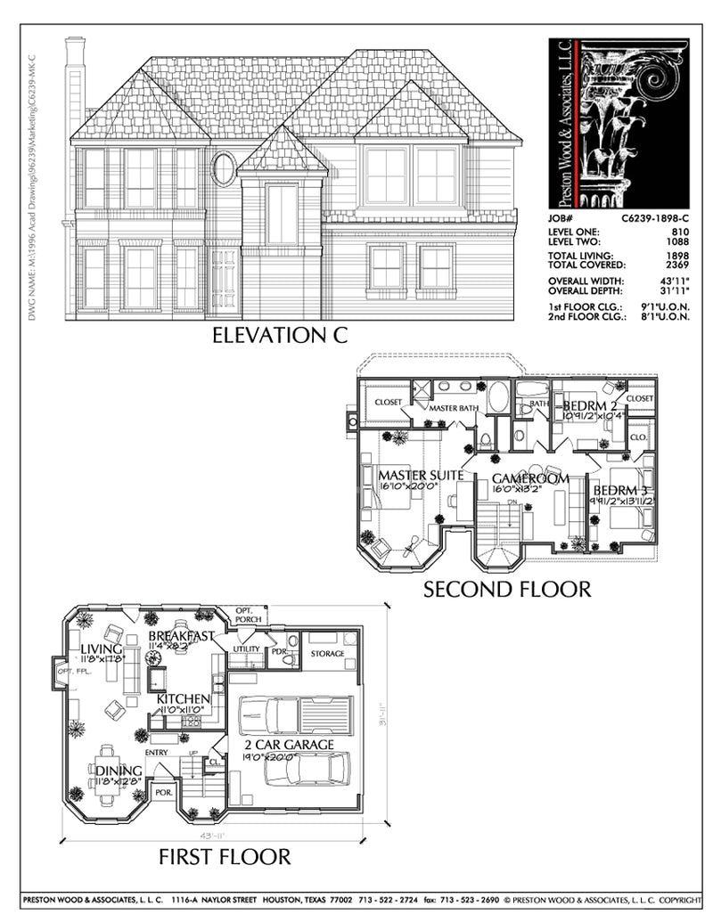Two Story House Plan C6239 C