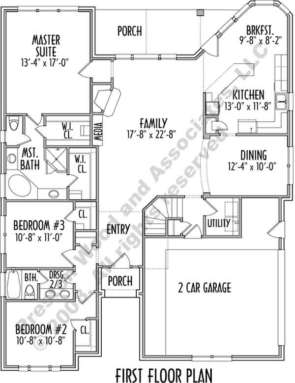 One Story House Plan C7028