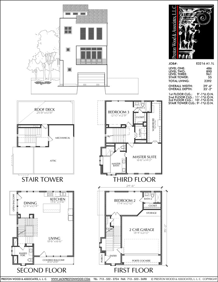 Townhouse Plan E3216 A1.1