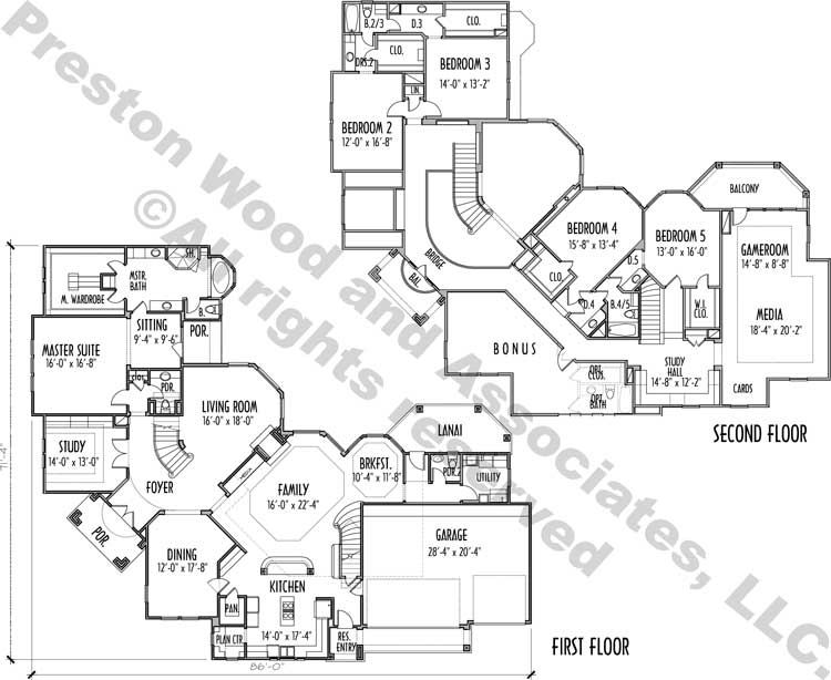 Two Story House Plan C9304