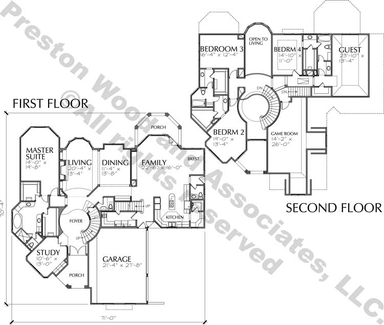 Two Story House Plan C7022