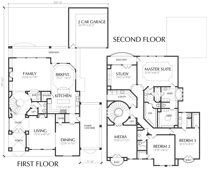 Two Story House Plan D5122