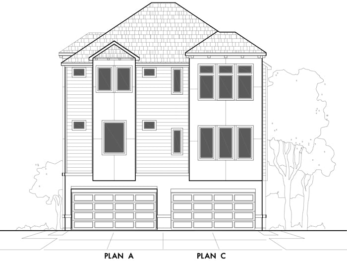 Duplex Townhouse Plan E0170 A&C