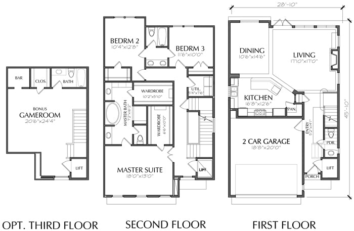 2 1/2 Story Townhouse Plan E1028 B