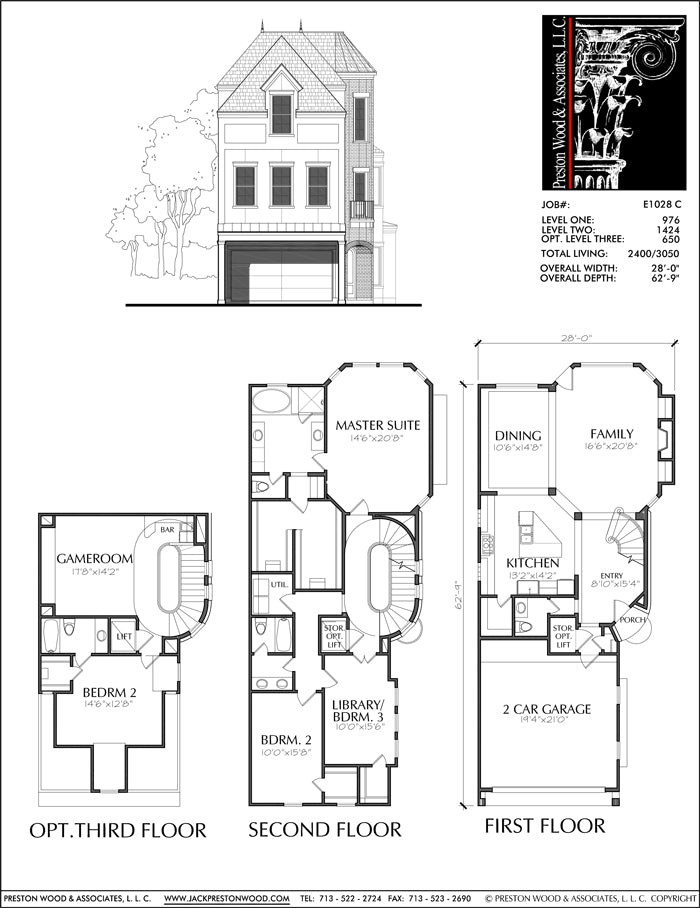 Three Story Townhouse Plan E1028 C